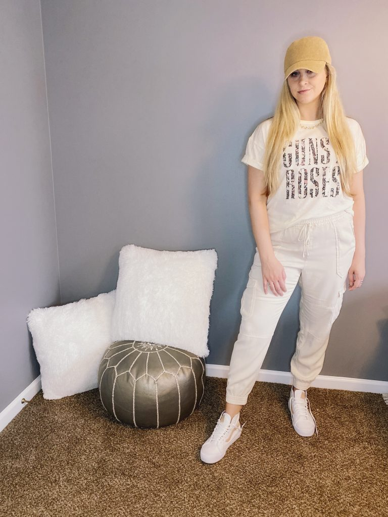 Guns n Roses Tee Styled Causally with Joggers