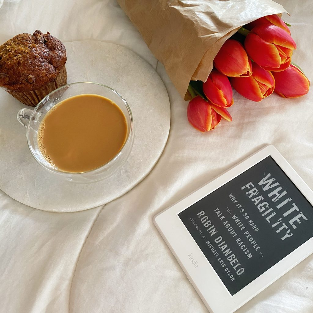 White Fragility book with breakfast